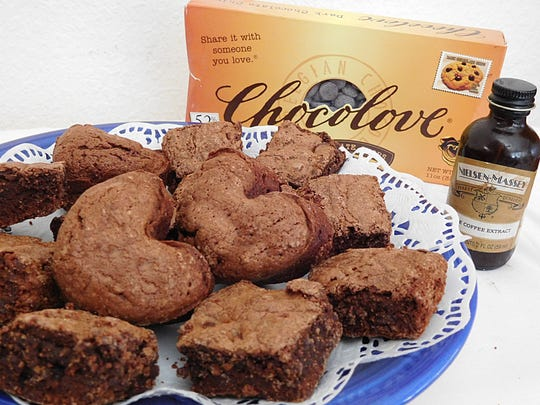 Jane Rosen's Brownies, made with Nielsen-Massey coffee extract instead of vanilla and Chocolove's dark chocolate chips, offer a rich chocolate flavor.