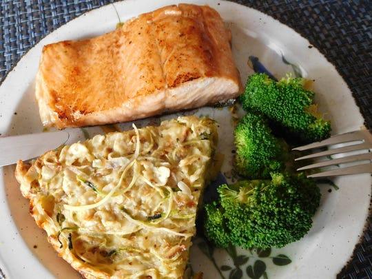 Spiralized Veggie Kugel with salmon and broccoli