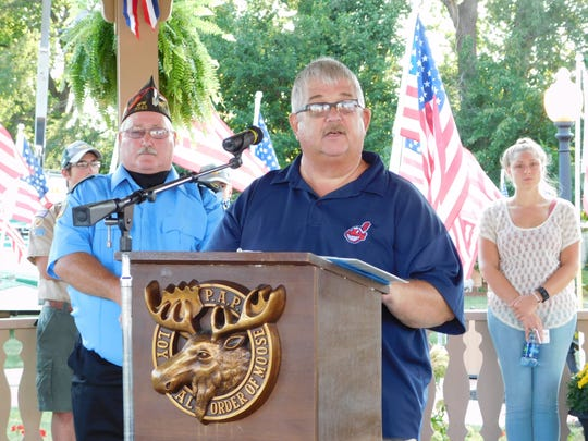 Clyde Mayor Scott Black speaks at an Ohio Flags of Honor held in a previous year at the Clyde Fair.