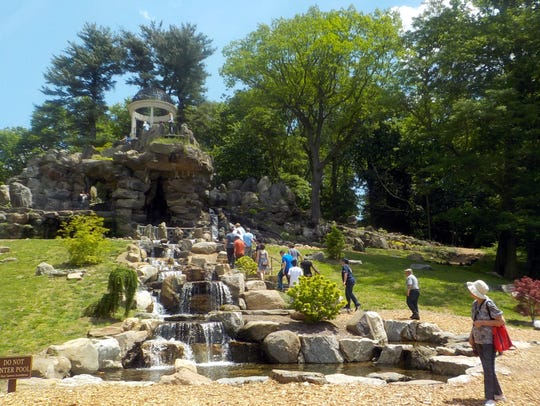 Visitors enjoying this free beauty at Untermyer Park