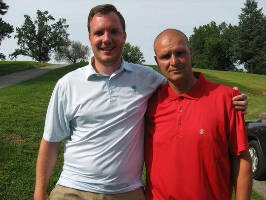 Justin Arnt, left, won the Lebanon County Better Ball with Skeet Wentling a few years back and is in  position to become the individual Lebanon County Amateur champ after shooting an opening-round 66 on Saturday.