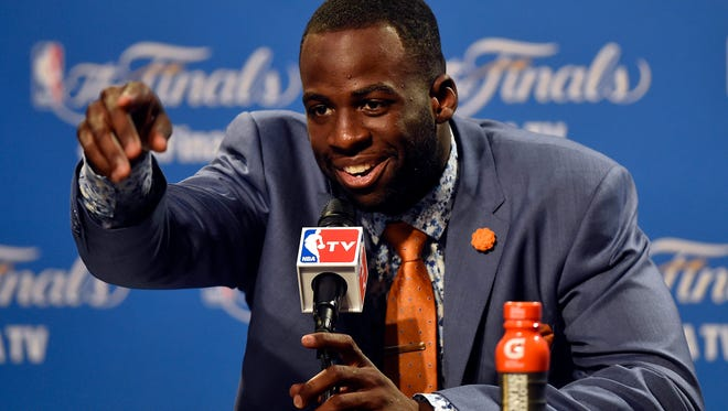 Warriors forward Draymond Green talks to the media after Game 4 of the NBA Finals against the Cleveland Cavaliers at Quicken Loans Arena.