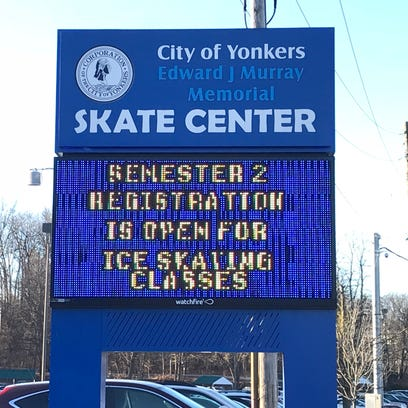 The entrance to Yonkers' skating rink on Jan. 25, 2018.