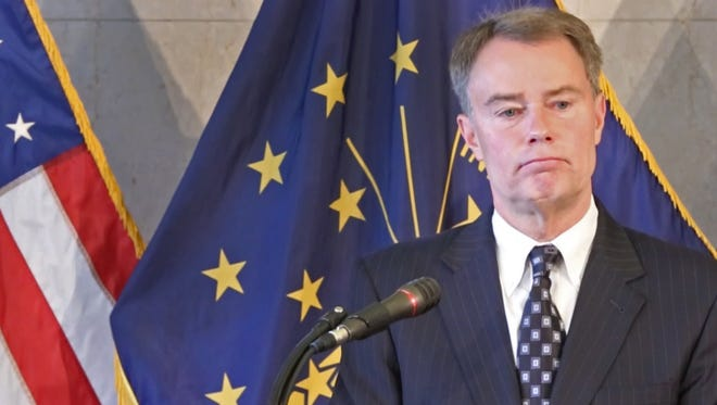 Mayor Joe Hogsett fields questions after announcing the Indianapolis Metropolitan Police Department's new use-of-force policy and culture on Friday, July 14, 2017, in response to the fatal police shooting of Aaron Bailey, who was unarmed.