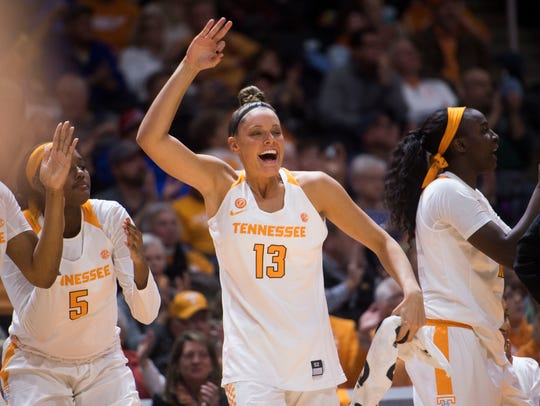 Tennessee forward Kortney Dunbar (13) celebrates a