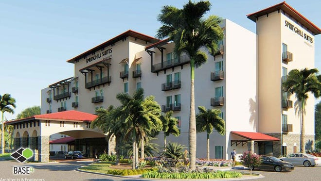 A rendering shows a 100-room Springhill Suites Marriott hotel proposed for the Estero Interstate Commerce Park, just east of I-75.