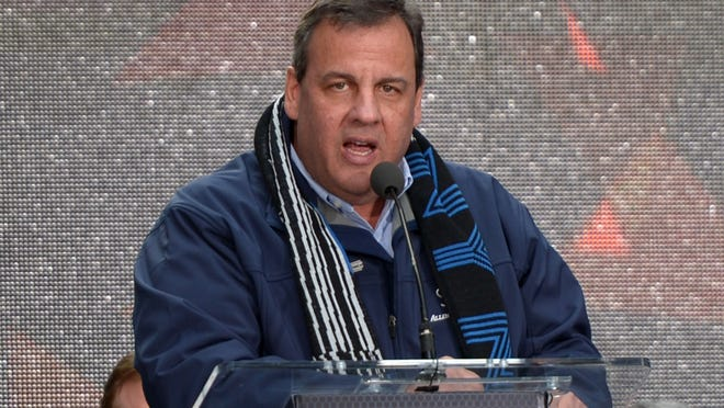 Feb 1, 2014; New  York, NY, USA; New York Jets governor Chris Christie speaks at the Super Bowl XLVIII handoff ceremony to the Arizona host committee at Super Bowl Boulevard on Broadway. Mandatory Credit: Kirby Lee-USA TODAY Sports