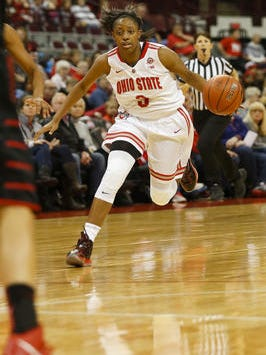 Ohio State's Kelsey Mitchell made a school-record nine 3-pointers Thursday night.
