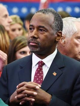 This October 28, 2015, file photo shows Republican presidential hopeful Ben Carson as he walks through the Spin Room following the CNBC Republican Presidential Debate at the Coors Events Center at the University of Colorado in Boulder, Colorado.