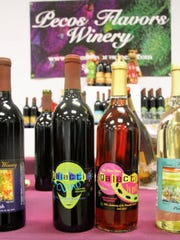 Wine labels from Pecos Flavors Winery feature aliens
