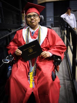 This June 4, 2016 Daily Times file photo shows a graduate at James M. Bennett High School in Salisbury. Bennett is the only Wicomico County public school ranked among the top in the nation by U.S. News & World Report. The school's 2015 graduation and college preparedness rates helped place Bennett  51st in Maryland and 1,789th in the nation in U.S. News & World Report's ranking.