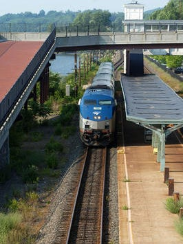 A south bound Amtrak train waits at the Rhinecliff station.