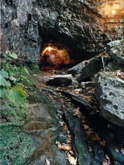 Entrance to Bell Witch cave in Adams, Tenn., reportedly where the witch that haunted the Bell family for three to four years starting in 1817 retreated to after the disturbances ceased.