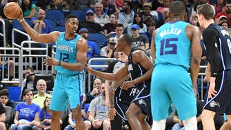 Charlotte Hornets center Dwight Howard (12) in the second half against the Orlando Magic at Amway Center.