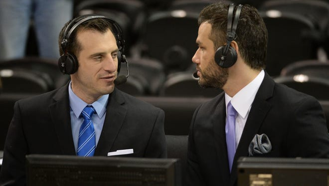 Announcers Doug Gottlieb (left) and Spero Dedes (right) after a men's college basketball game during the third round of the 2014 NCAA Tournament between the Harvard Crimson and the Michigan State Spartans at Veterans Memorial Arena.