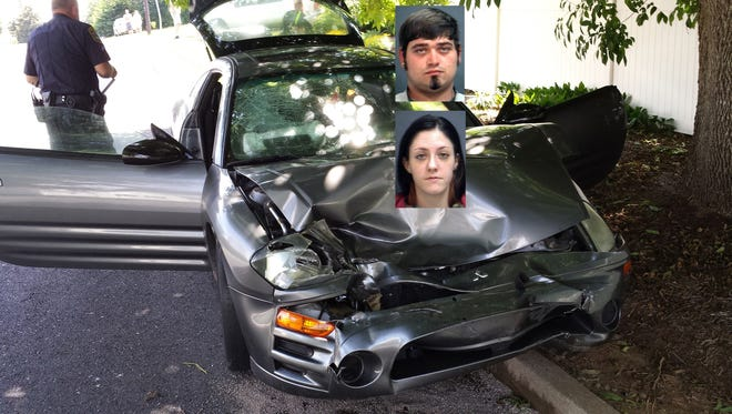 The police stopped a 2004 Mitsubishi Eclipse for a routine traffic stop. The female driver, 23-year-old Desiree M. Welcher of Waynesboro and passenger, Paul J. Waters, 24 (insert photos) tried to speed off causing a police chase through Waynesboro resulting in a crash with another vehicle July 7, 2014. (Waynesboro Police Handout Photo)