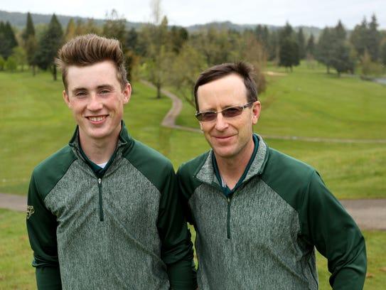 Regis High School golf team member Dawson Dickey, left,