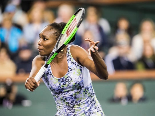 Venus Williams of the United States of America plays
