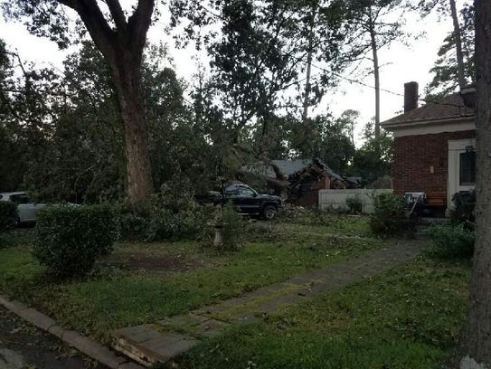 Hurricane Matthew caused a tree to fall in the south
