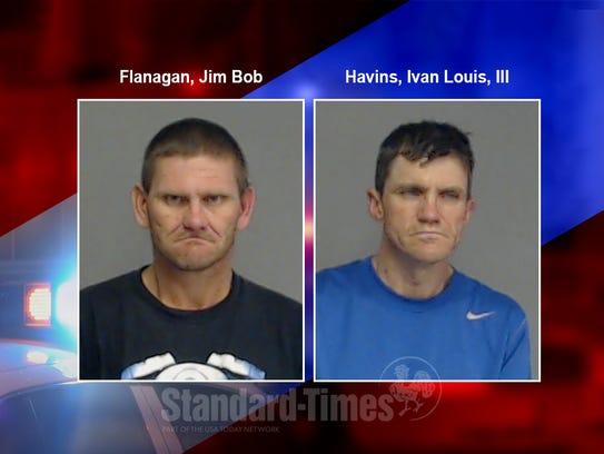 Mug shots of Jim Bob Flanagan and Ivan Louis Havins,