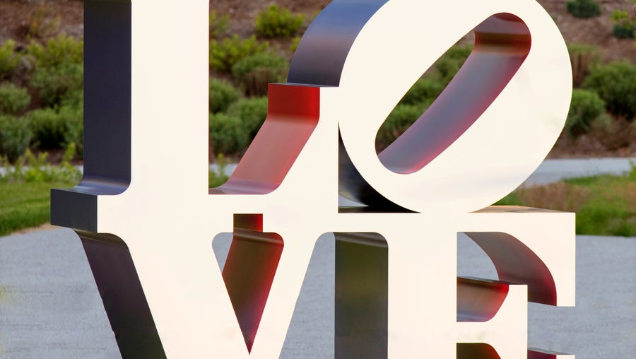 """""""LOVE"""" (1966-'99), by artist Robert Indiana, part of"""
