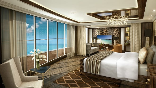 An artist's drawing of the master bedroom of the Regent Suite planned for Regent Seven Seas' next ship, the Seven Seas Explorer.