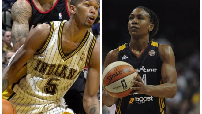Jalen Rose, left, and Tamika Catchings were honored with sports legacy awards.