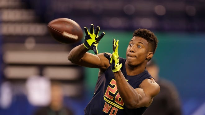 East Carolina wide receiver Zay Jones runs a drill at the NFL football scouting combine Saturday, March 4, 2017, in Indianapolis. (AP Photo/David J. Phillip)