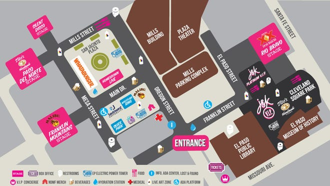 Get a look at where the main stages will be at Neon Desert Music Festival.