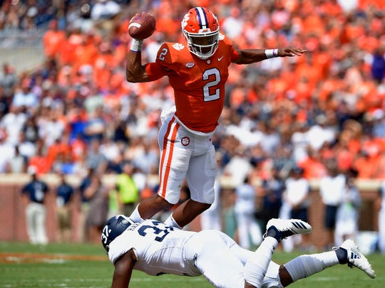 Clemson quarterback Kelly Bryant is upended by Georgia Southern's Lane Ecton during the first half of an NCAA college football game Saturday, Sept. 15, 2018, in Clemson, S.C. Clemson won 38-7. (AP Photo/Richard Shiro)