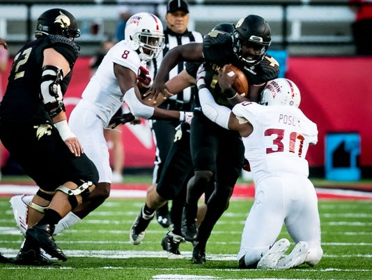 in the football game between ULL and Texas State at Cajun Field in Lafayette, Louisiana on October 12, 2017.