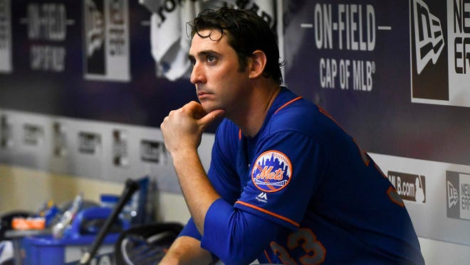 New York Mets pitcher Matt Harvey (33) sits in the dugout after giving up three runs in the sixth inning during the game against the Milwaukee Brewers at Miller Park on Friday night.