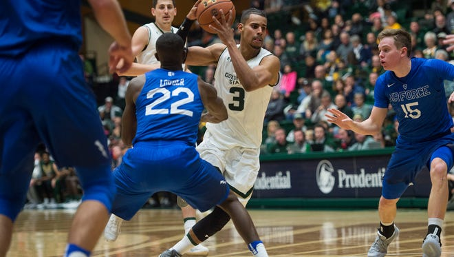CSU forward Gian Clavell drives the ball down the court around Air Force defense during a game at Moby Arena Friday, January 6, 2017.