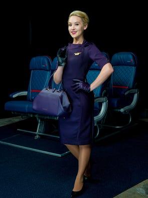 One of the new Delta flight attendant uniforms.