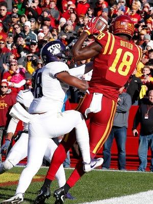 Iowa State receiver Hakeem Butler (18) catches a 4-yard touchdown pass.