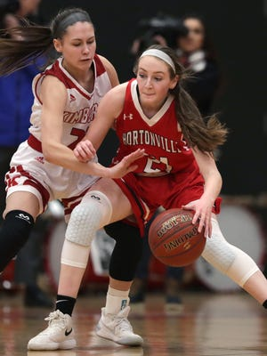 Kimberly High School's #23 Bryn Sikora against Hortonville High School's #21  Emily Nelson during their girls basketball game on Friday, February 9, 2018, in Kimberly, Wis.