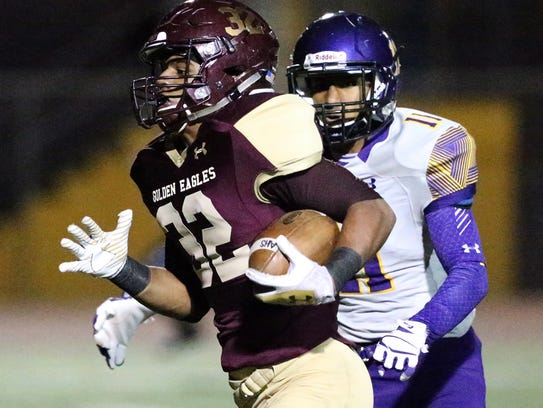 Andress running back Dorian Lewis, 32, steams to the