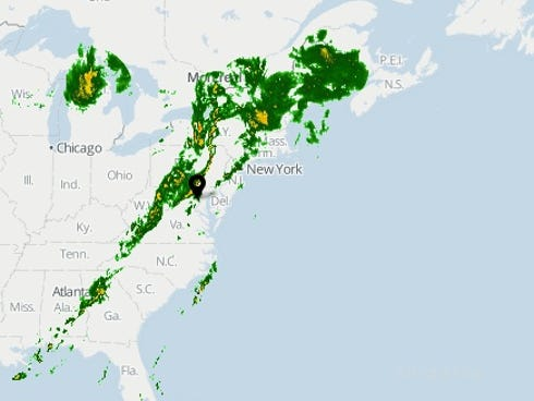 A screenshot of the  USA TODAY Weather map as of 7:10 a.m. ET.