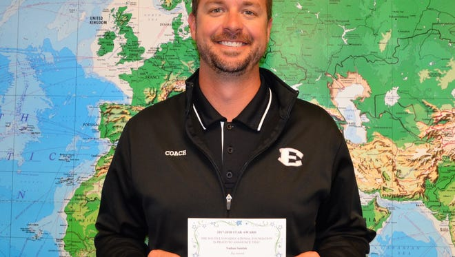 Centennial Middle School teacher Justin Chamberlin was one of the first teachers in the district to receive a South Lyon Educational Star Award.