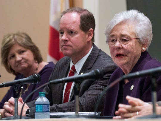 Governor Kay Ivey, from right, Senator Cam Ward and Alabama Chief Justice Lyn Stuart during a Juvenile Justice task force meeting at the state capitol building in Montgomery, Al., on Wednesday January 10, 2018.