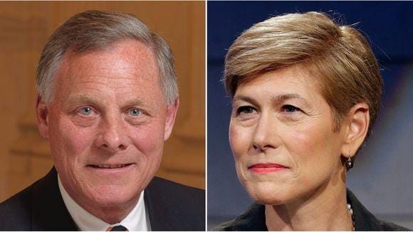 Republican Sen. Richard Burr and Democratic candidate Deborah Ross