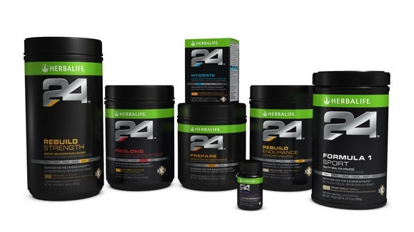 A selection of Herbalife's nutritional supplements.