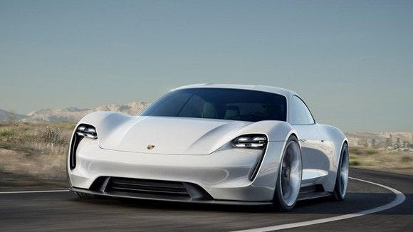 The first all-electric Porsche is expected to look a lot like the Mission E Concept first shown in 2015.