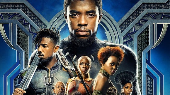 """Black Panther"" movie poster with numerous cast members."