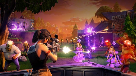 A battle scene from Epic Games' Fortnite Battle Royal.