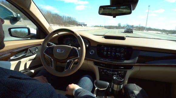 GM's Super Cruise system allows hands-free highway driving under certain circumstances.