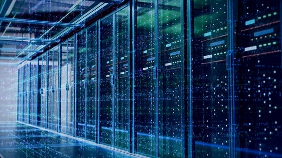 Servers in a data center. A new service from four rival companies could simplify the task of transferring data from one site to another.