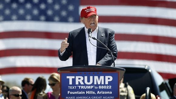 Donald Trump speaks at a campaign rally in Fountain Hills, Ariz., on March 19, 2016. (Photo: Ralph Freso, Getty Images)