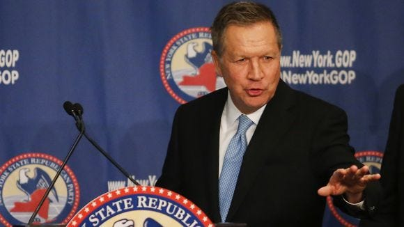 John Kasich speaks at the annual New York State Republican Gala on April 14, 2016, in New York City.