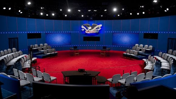 The stage is set for the presidential debate at the David Mack Center at Hofstra University in Hempstead, N.Y., on Oct. 16, 2012. (Photo: Saul Loeb, AFP/Getty Images)